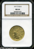 Indian Eagles: , 1911-D $10 MS64 NGC. ...