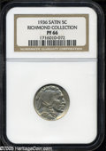 """Proof Buffalo Nickels: , 1936 5C Type One--Satin Finish PR 66 NGC. The current Coin DealerNewsletter (Greysheet) wholesale """"bid"""" price is $1500.00...."""