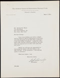 Autographs:Letters, 1953 William Harridge Signed Letter to George Weiss.. ...