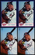 Autographs:Post Cards, 1997-2000 Kirby Puckett Signed Team Issued Card Lot of 4.. ...