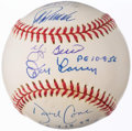 Autographs:Baseballs, New York Yankees Perfect Game Multi-Signed Baseball (6 Signatures) with Berra, Cone, Girardi, Larsen, Posada, & Wells.. ...