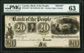 Canadian Currency, Toronto, UC- Bank of the People $20 ND (1836-40) Ch. # 570-12-16P Proof PMG Choice Uncirculated 63.. ...