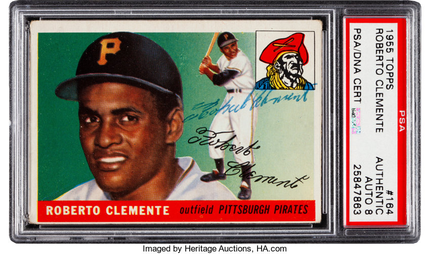 Signed 1955 Topps Roberto Clemente 164 Rookie Psadna Auto