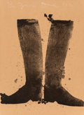 Fine Art - Work on Paper:Print, Jim Dine (b. 1935). Silhouette Black Boots on Brown Paper,1972. Lithograph in colors on brown wrapping paper. 30 x 22 i...