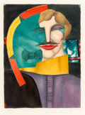 Fine Art - Work on Paper:Print, Richard Lindner (1901-1978). Untitled (Man with Bow Tie), from Eugène Ionescu, 1975. Lithograph in colors on Arches ...