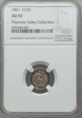 Seated Half Dimes, 1861 H10C AU53 NGC. NGC Census: (12/571). PCGS Population: (27/478). CDN: $70 Whsle. Bid for problem-free NGC/PCGS AU53. Mi...