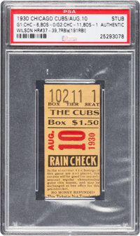 August 10, 1930 Game One Chicago Cubs Vs. Braves Ticket Stub PSA Authentic - Hack Wilson Two HRs and Four RBIs