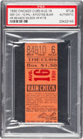 Baseball Collectibles:Tickets, August 16, 1930 Game One Chicago Cubs Vs. Phillies Ticket Stub PSA Authentic - Hack Wilson HR and 3 RBIs. ...