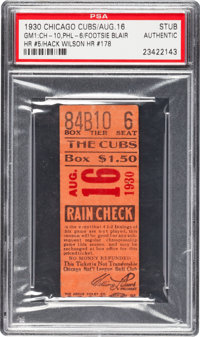 August 16, 1930 Game One Chicago Cubs Vs. Phillies Ticket Stub PSA Authentic - Hack Wilson HR and 3 RBIs