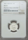 Seated Dimes, 1853 10C Arrows AU53 NGC. NGC Census: (34/778). PCGS Population: (53/825). AU53. Mintage 12,078,010. . From The Maumee ...