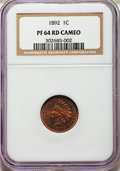 Proof Indian Cents, 1892 1C PR64 Red Cameo NGC. Snow-PR1....