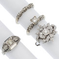Estate Jewelry:Rings, Diamond, White Gold Rings. ... (Total: 4 Items)