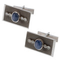 Estate Jewelry:Cufflinks, Star Sapphire, Diamond, White Gold Cuff Links . ...