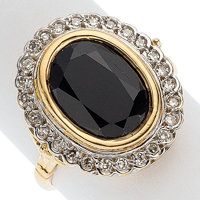 Sapphire, Diamond, Gold Ring, French