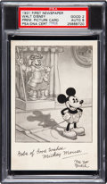 Non-Sport Cards:Singles (Pre-1950), Signed 1931 First Newspaper Walt Disney Mickey Mouse Premium Card PSA Good 2 - Auto 8....