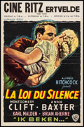 "Movie Posters:Hitchcock, I Confess (Warner Brothers, 1953). Belgian (14.5"" X 22"").Hitchcock.. ..."