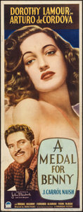 "Movie Posters:Drama, A Medal for Benny (Paramount, 1945). Insert (14"" X 36""). Drama....."