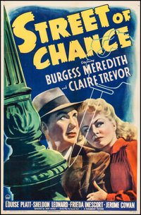"Street of Chance (Paramount, 1942). One Sheet (26.75"" X 41""). Film Noir"