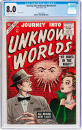 Golden Age (1938-1955):Horror, Journey Into Unknown Worlds #41 (Atlas, 1956) CGC VF 8.0 Off-white to white pages....