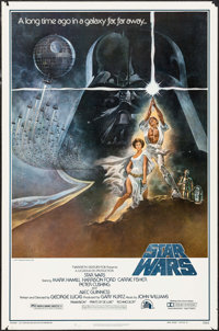 "Star Wars (20th Century Fox, 1977). First Printing One Sheet (27"" X 41"") Style A, Tom Jung Artwork. Science Fi..."
