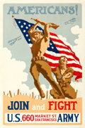 "Movie Posters:War, World War I Propaganda (U.S. Army, 1918). Poster (30.25"" X 42.5"")""Americans! Join and Fight,"" Edwin de la Laing Artwork.. ..."