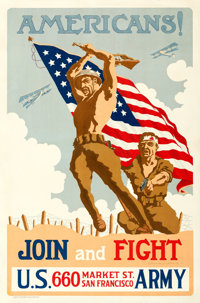 "World War I Propaganda (U.S. Army, 1918). Poster (30.25"" X 42.5"") ""Americans! Join and Fight,"" Edwin..."