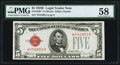 Small Size:Legal Tender Notes, Fr. 1530* $5 1928E Legal Tender Note. PMG Choice About Unc 58.. ...