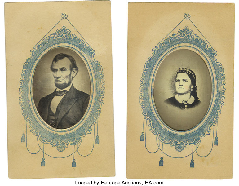 PhotographyTintypes Matching Tintypes Of Abraham And Mary Todd Lincoln In Carte DeVisite Mounts