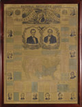 "Political:Posters & Broadsides (pre-1896), Lincoln & Hamlin: A Rare Large 1860 Jugate ""National Republican Chart."" Bold central image of the two running mates shortly ..."