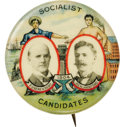 """Political:Pinback Buttons (1896-present), Eugene V. Debs: Classic 1904 Dated 1¼"""" Multicolor Debs & Hanford Jugate Pinback. This classic favorite is surely the most be..."""