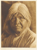 """Photography:Official Photos, Edward S. Curtis Original Portfolio Photogravure """"A Southern Miwok""""Plate 495 on Japanese Rice Tissue mounted on vellum, cop..."""