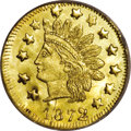 California Fractional Gold: , 1872 50C Indian Round 50 Cents, BG-1049, R.4, MS66 Prooflike NGC.The Large Stars variety, with a prominent die crack throu...