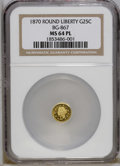 California Fractional Gold: , 1870 25C Goofy Head Round 25 Cents, BG-867, R.4, MS64 ProoflikeNGC. A well struck piece that sports excellent reflectivity...