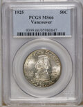 Commemorative Silver: , 1925 50C Vancouver MS66 PCGS. Small spots of auburn and violet-gray dot the periphery of this lustrous Premium Gem. The fig...