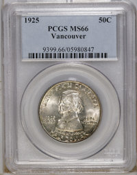 1925 50C Vancouver MS66 PCGS. Small spots of auburn and violet-gray dot the periphery of this lustrous Premium Gem. The...