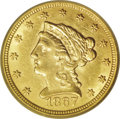 Liberty Quarter Eagles: , 1867-S $2 1/2 AU58 PCGS. The total mintage of this issue was 28,000coins, and nearly every one of those pieces entered cir...