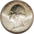 Washington Quarters: , 1937-S 25C MS67 NGC. Pale gold and cream blend throughout thisthoroughly lustrous and unmarked Superb Gem. The strike is i...