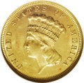Three Dollar Gold Pieces: , 1882 $3 MS64 Prooflike NGC. Recut 2 in date. Breen-6396. The digit2 is sharply recut with the initial position about 50% t...