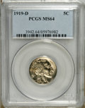 Buffalo Nickels: , 1919-D 5C MS64 PCGS. Solidly struck with wisps of champagne toning and a small spot of bluish-gray near the Indian's feathe...