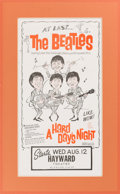 Music Memorabilia:Posters, Beatles - A Hard Day's Night Movie Advertisement from Hayward, California (US, 1964), in Matted Display. ...