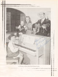 """Music Memorabilia:Autographs and Signed Items, Hank Williams Signed Sheet Music Magazine Page """"At Home With the Williams Family"""" Circa 1950...."""