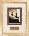 Movie/TV Memorabilia:Autographs and Signed Items, Shirley Temple Signed Photo in a Framed Display....