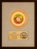 """Music Memorabilia:Awards, Beatles """"Lady Madonna"""" RIAA White Mat Gold Record Sales Award Presented to the Artists (Capitol 2138, 1968). ..."""