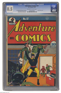 """Adventure Comics #57 (DC, 1940) CGC VF+ 8.5 Off-white to white pages. """"Tick Tock"""" Tyler, aka Hourman, is drawn..."""