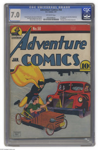 Adventure Comics #58 (DC, 1941) CGC FN/VF 7.0 Off-white pages. Soapbox racing in the urban jungle? Good thing Hourman's...