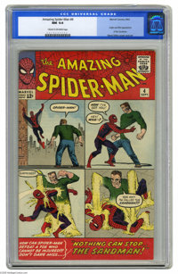 The Amazing Spider-Man #4 (Marvel, 1963) CGC NM 9.4 Cream to off-white pages. The Sandman made his first appearance in t...