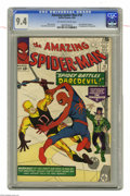 Silver Age (1956-1969):Superhero, The Amazing Spider-Man #16 (Marvel, 1964) CGC NM 9.4 Off-white to white pages. Daredevil crossed over into another character...
