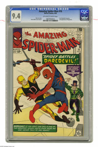 The Amazing Spider-Man #16 (Marvel, 1964) CGC NM 9.4 Off-white to white pages. Daredevil crossed over into another chara...
