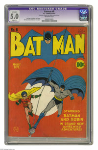 Batman #6 (DC, 1941) CGC Apparent VG/FN 5.0 Slight (P) Off-white pages. Bob Kane and Jerry Robinson teamed up for both t...