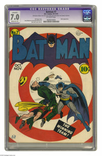 Batman #7 (DC, 1941) CGC Apparent FN/VF 7.0 Moderate (P) Off-white pages. Combine a bullseye cover and a Joker appearanc...